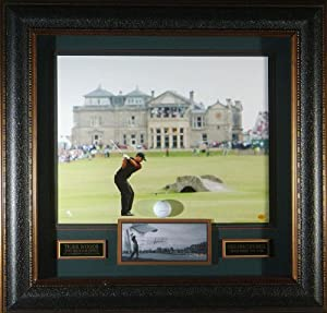 Tiger Woods British Open Champion Signed Framed Display UDA - Autographed Golf Collages