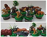 LION KING 11 Piece Birthday CUPCAKE Topper Set Featuring Simba, Nala, Scar, Timon, Zazu, Hyena's, and Mufasa, Themed Decorative Accessories, Figures average 2 to 3 Tall
