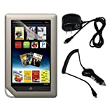 Premium Home Wall Charger + Car Charger + Clear Screen Protector for Barnes Noble Nook Color, Nook Tablet