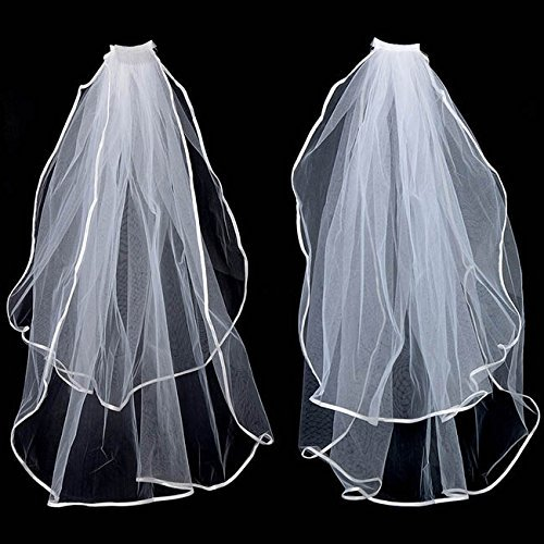 2T White Wedding Bridal Elbow Satin Veil with Comb Waist 2 Layers
