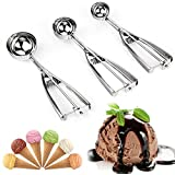 Ice Cream Scoop, Danibos 3PCS Stainless Steel With Trigger Cookie Scoop Spoon Set (3, ice cream scoop)