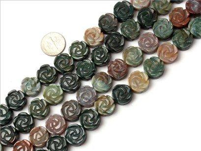 14mm flower gemstone indian agate beads strand 15