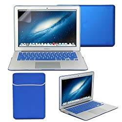 Macbook Air 13 Case, GMYLE Hard Case Frosted for MacBook Air 13.3 inch (Model: A1369 and A1466) - Blue 4 in 1 Bundle - Matte Cover - Sleeve Bag - Silicon Keyboard Skin - Clear Screen Protector