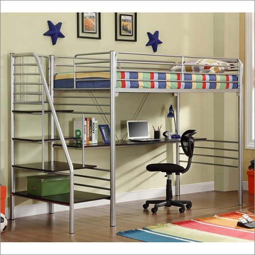 twin metal stairway loft bed with desk storage shelves underneath