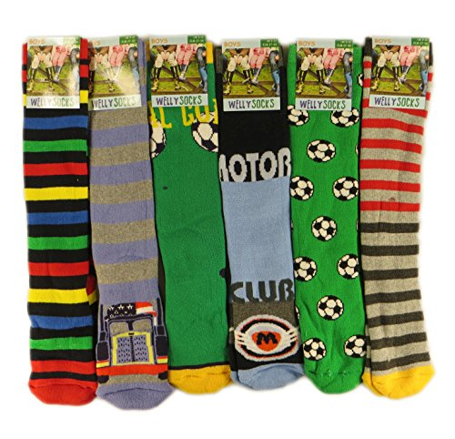 3-Pairs-Of-Boys-Kids-Children-Wellington-Welly-Motif-Design-Thermal-Warm-Long-Socks-By-Sockstack