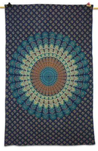 """Designer Wall Table Runner Tapestry Wall D‰[or Mandala Print Table Cloth Large Bed Spread 84"""" X 54"""" Print Defect by Mandala Creations"""