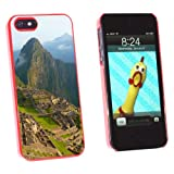 Machu Picchu Inca City Ruins in Cusco Peru - Snap On Hard Protective Case for Apple iPhone 5 5S - Red