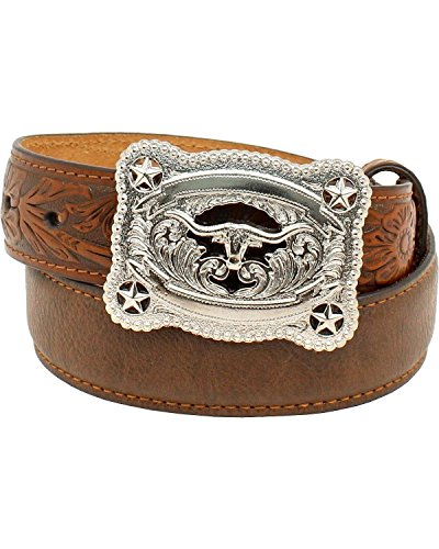 Nocona Boys' Tooled Billet Longhorn Buckle Belt Brown 26 (Western Belt Boys compare prices)