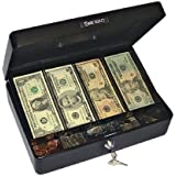 PM Company Securit Spacious Size Cash Box With 4 Cash and 5 Coin Removable Compartment Tray, 12.12 x 8.75 x 3.75 Inch, Luminous Black (04804)