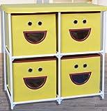 """Kinder Stoffkommode """"Gesicht"""" mit 4 Schubladen in gelb"""