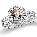 Chocolate Diamond Engagement Rings Wedding Set 14k White Gold (1.23 ct.tw.), size 7