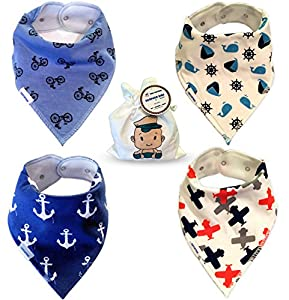 Baby Bandana Drool and Dribble Bibs for Boys Super Absorbent Cotton for Infants Toddlers and Babies with Adjustable Snaps Soft Fleece Back 4 Feeding and Teething Boy Bib Set with Bag From Tiny Captain