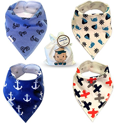 Baby Bandana Drool Bibs for Boys - Super Absorbent Cotton for Infants, Toddlers, and Babies - 2 Adjustable Snaps - Soft Fleece Backing, 4 Bib Set with Bag Best Modern Boy Shower Gift From Tiny Captain