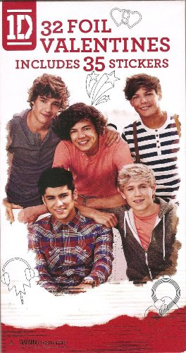 1D - One Direction Valentine'S Day Cards (Includes 32 Foil Valentines And 35 Stickers)