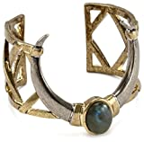 House of Harlow 1960 Horn Cuff Bracelet with Labradorite Stone, 5.3