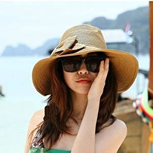 Nsstar Fashion Girl Bowknot Beach Sun Visor Foldable Roll up Wide Brim Straw Hat Cap Free Shipping (Bowknot:Brown)