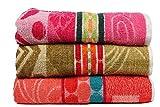 Casa Basics 400 GSM Set Of 3 Jacquard Large Bath Towels 68 X 137 cm- Orange,Green & Pink