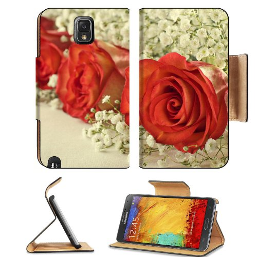 Red Roses Baby'S Breath Flower Bouquet Rose Match Samsung Galaxy Note 3 N9000 Flip Case Stand Magnetic Cover Open Ports Customized Made To Order Support Ready Premium Deluxe Pu Leather 5 15/16 Inch (150Mm) X 3 1/2 Inch (89Mm) X 9/16 Inch (14Mm) Liil Note front-362073