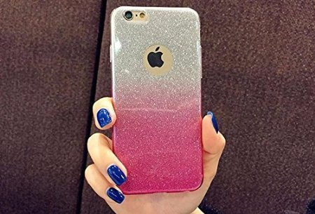 new arrival 61fd0 d16f9 FONOVO Gradient Glitter Skin Soft Silicone Slim Back Cover Case for Apple  iPhone 6S Plus & 6 Plus, Pink Color