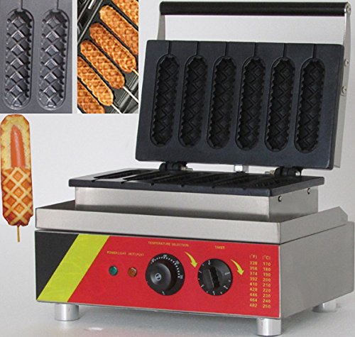 Great Wall Instruments NP-527 6pcs Commercial Hot Dog Waffle Maker Hot Dog Grill lolly Waffle Maker Electric Muffin Waffle Machine No-stick Waffle Baker Roasted Corn Rods Machine 110V/220V CE (Dog Waffle Maker compare prices)