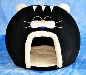 Schicke Katzenhöhle in interessantem, aussergewöhnlichen Catlook-Design - Gr. XL 60x50 cm - SCHWARZ - 30305