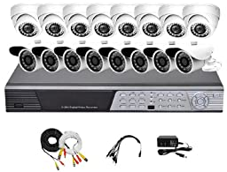 iPower Security SCCMBO0015-2T 16 Channel 2TB HDD Full D1 DVR Security Surveillance System with 16 850TVL Cameras