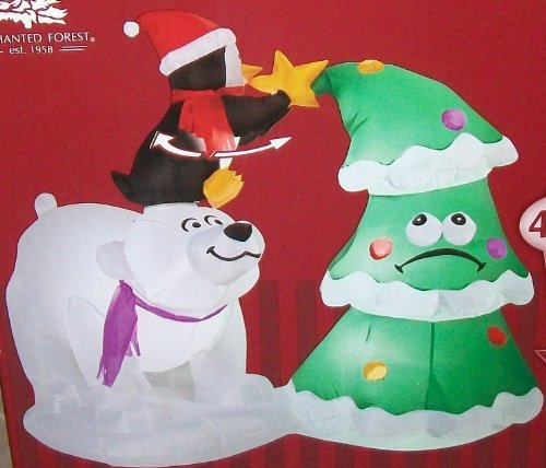 4 5 animated penguin and polar bear gemmy airblown for Animated polar bear christmas decoration