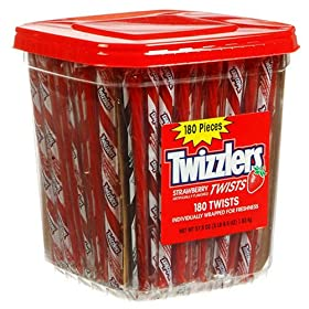 Twizzler Strawberry Candy Twists 180 Piece Clear Tub