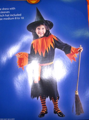 Witch Black Orange Child Dress Costume M 8-10 NWT
