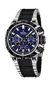 Festina Chrono Bike 2014 Men's Quartz Watch with Blue Dial Chronograph Display and Black Stainless Steel Strap F16775/2