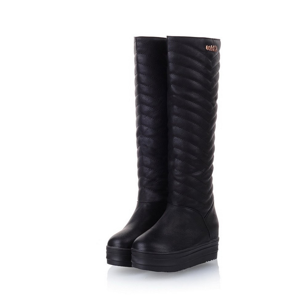 BeautyLover Women's Sweet Style Candy High Boots With Metalornament and Round Toe,Black,38