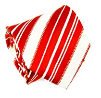Paul Malone Necktie . 100% Silk . Red and White Stripes