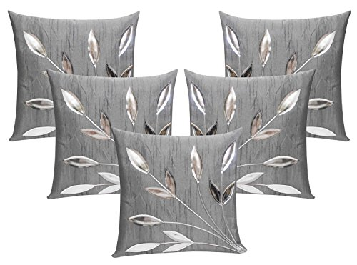 ShwetaInternational Leaves Patch Silver Cushion Covers (16X16 Inches) Set Of 5