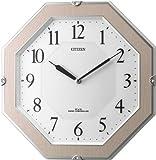 CITIZEN ソーラー発電電波掛時計 サイレントソーラーM826 木枠薄ピンク半艶仕上げ 4MY826-013