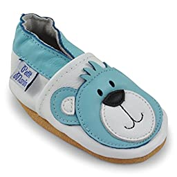 Petit Marin Beautiful Soft Leather Baby Shoes with Suede Soles - Toddler / Infant Shoes - Crib Shoes - Baby First Walking Shoes - Pre-walker Shoes - Blue Bear - 0-6 Months (20 Designs)