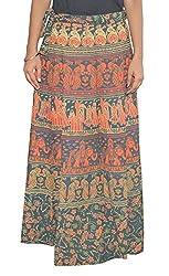 Femezone Women Animal Print Cotton Long Wrap Around Skirt Open Waist (multi 4)