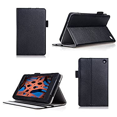 Bear Motion for Fire HD 6 Case - Genuine Cowhide Leather Case for the Kindle Fire HD 6 (Oct 2, 2014 Release) - Black