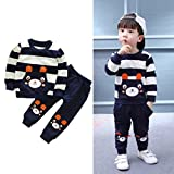 Vovotrade Autumn Winter Outfits Kids Baby Girl Boy Clothes Set Striped Bear Tops+Pants (5T, Navy)