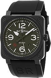 Bell & Ross Aviation Men's Black Ceramic Khaki Dial Swiss Automatic Watch BR 03-92 Military Type Ceramic