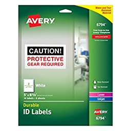 Avery Durable ID Labels, Permanent Adhesive, 5\