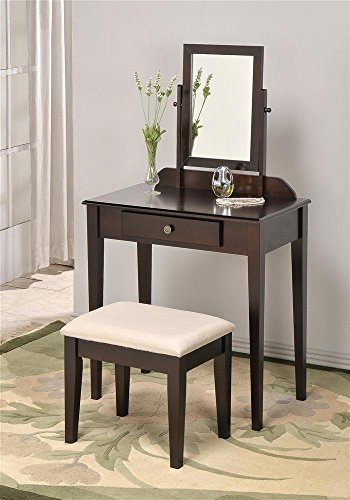 Adf Wood Vanity Make Up Table, Mirror With Bench (Espresso)
