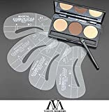 VALUE MAKERS 3 Colour Eyebrow Kit - Makeup Powder Eyebrows + 4 Eyebrow Stencils + Eyebrow Brush - Make Up Eyebrow Powder Palette with Eyebrow Stencils - Eyebrow Brush - Eyebrow Shaper - Makeup Eyebrow Wax Kit Cosmetics Tools - Eyebrow Stencil Template