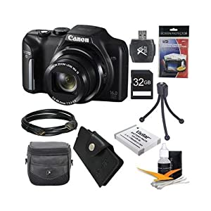 Canon PowerShot SX170 IS 16.0 MP Digital Camera with 16x Optical Zoom and 720p HD Video (Black) Ultimate Bundle With DigPro 32GB High Speed Card , Digpro Deluxe Case, Deluxe Cleaning Kit ,Spare Battery, HDMI Cable, Wallet , Tripod