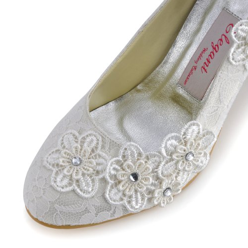 ElegantPark Women Vintage Closed Toe Pumps High Heel Flowers Lace Wedding Bridal Dress Shoes 4
