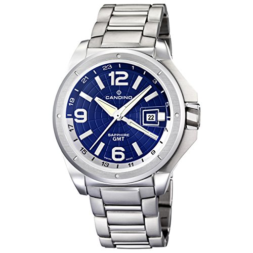 Candino C4451-B Mens Dual Time Silver Steel Bracelet Watch