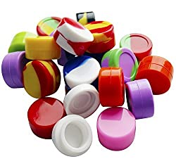 Bassion 20Pcs Non-Stick Food Grade Silicone Dab Containers Set Wax Container, 5ml Non Stick Wax Oil Multi Use Storage Jars, Assorted Colors