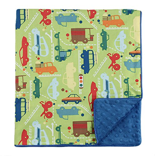 "My Blankee Beep Beep Organic Cotton Lime Green w/ Minky Dot Electric Blue Baby Blanket, 30"" X 35"""