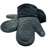 HOMWE Silicone Oven Mitts, Black, 1 Pair