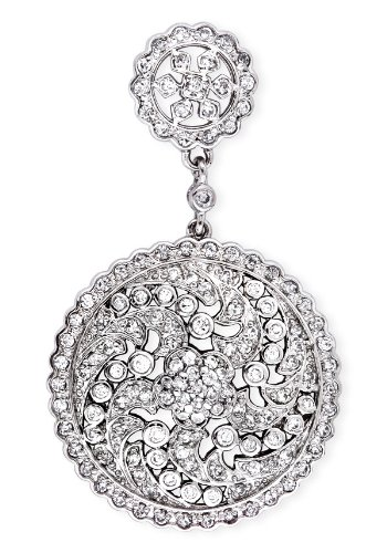 C.Z. Diamond Lacy Floral Sterling Silver Circular Pendant (Cyber Monday Special Sale)