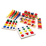 木のおもちゃ 知育玩具セット 形合わせ はめこみ パズル 幾何学認知 棒さし タワー 8点入り